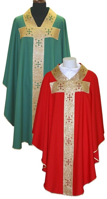 Chasuble Gold Band and Crosses