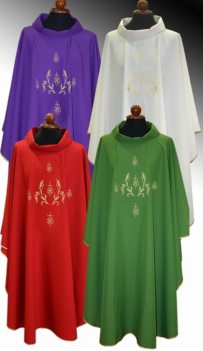 Embroidered Chasuble with Crosses and Wheat