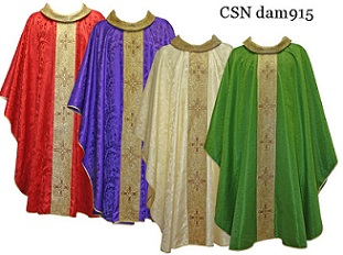 Damask Chasuble with Gold woven band and Cross
