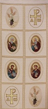 Four Evangelists w Alfa,Omega,Eucharist Symbol